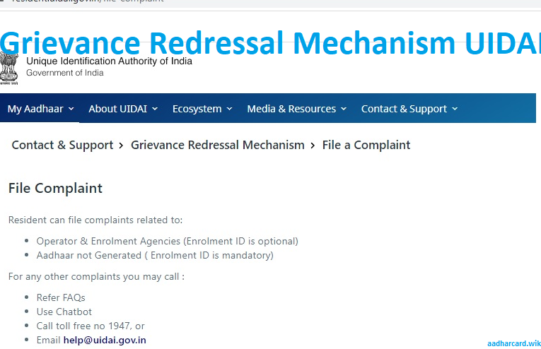 Grievance Redressal Mechanism UIDAI